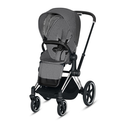 Cybex Priam Pushchair - Manhattan Grey Plus-Strollers-Chrome Black-None- Natural Baby Shower