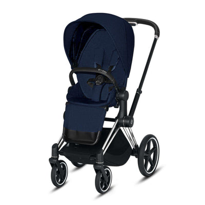 Cybex Priam Pushchair - Midnight Blue Plus-Strollers-Chrome Black-None- Natural Baby Shower