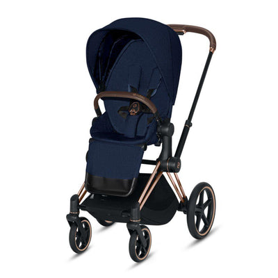 Cybex ePriam Pushchair - Midnight Blue Plus-Strollers-Rose Gold-None- Natural Baby Shower