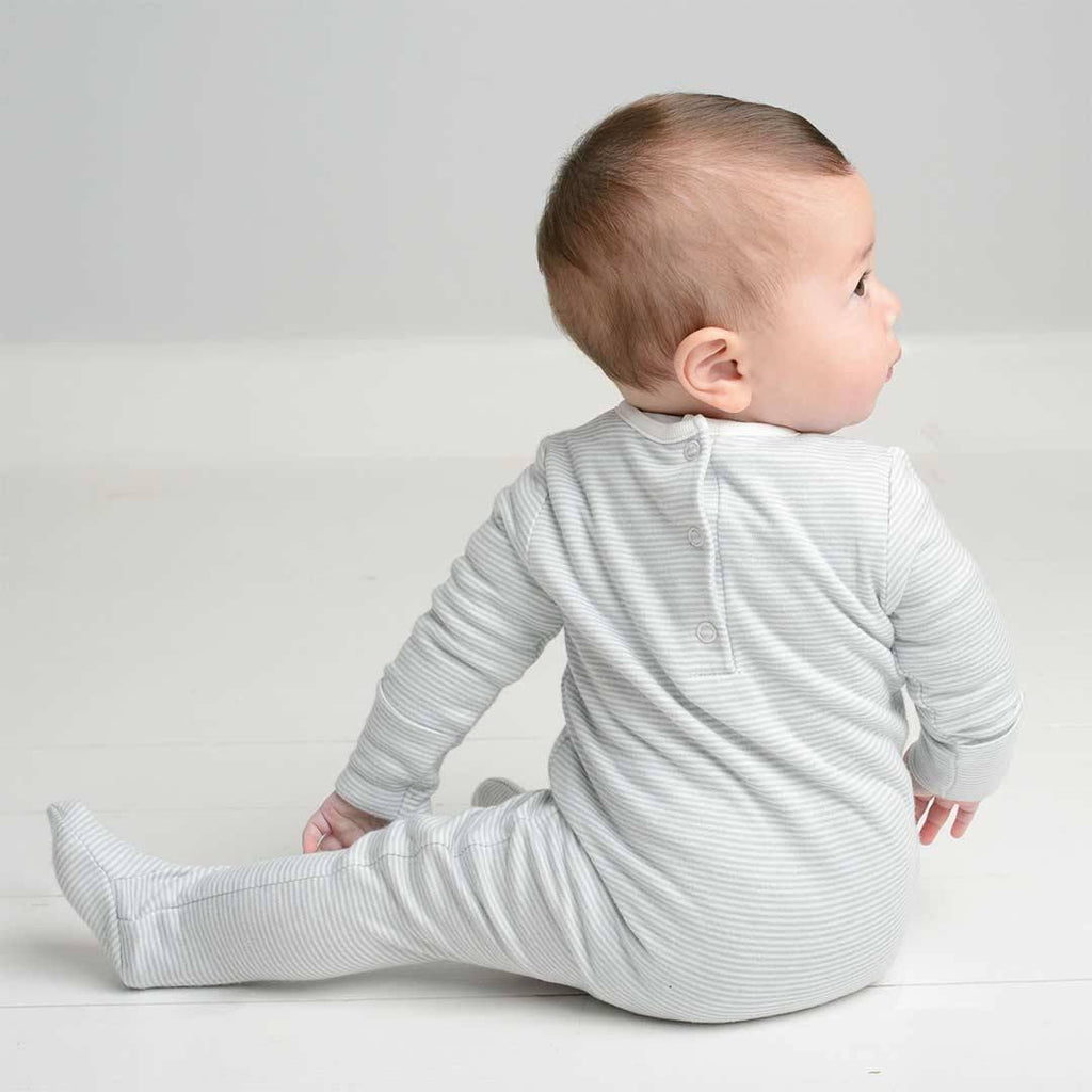 MORI Back Opening Sleepsuit - Blue Lifestyle