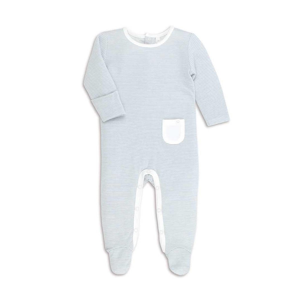 MORI Back Opening Sleepsuit Blue