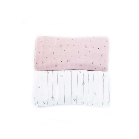 MORI Bamboo Muslin Set - Blush-Muslin Squares- Natural Baby Shower