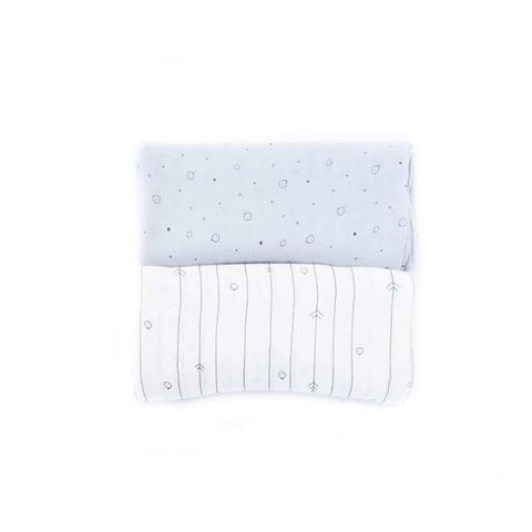 MORI Bamboo Muslin Set - Grey-Muslin Squares- Natural Baby Shower