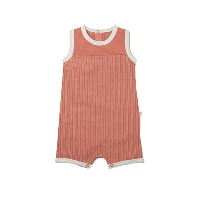 MORI Beach Romper - Coral Stripe-Rompers- Natural Baby Shower