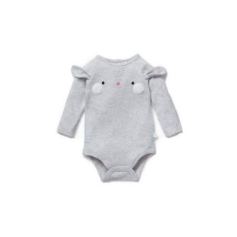 MORI Bunny Suit - Grey Marl-Bodysuits- Natural Baby Shower