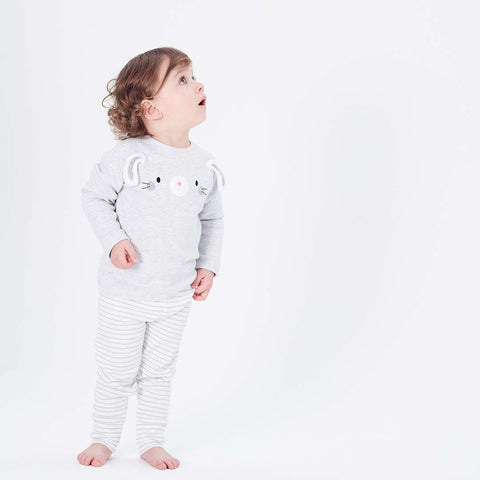 MORI Bunny T-Shirt - Grey Marl-Long Sleeves- Natural Baby Shower