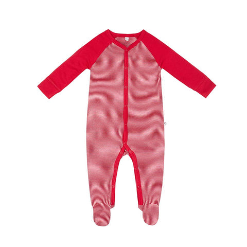 MORI Festive Front-Opening Sleepsuit - Red Stripe-Sleepsuits- Natural Baby Shower