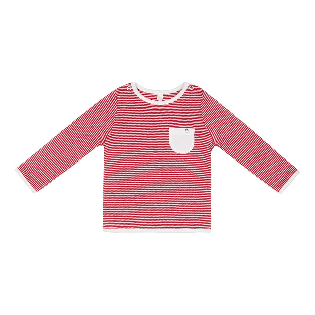 MORI Festive T-Shirt - Red Stripe-Long Sleeves- Natural Baby Shower