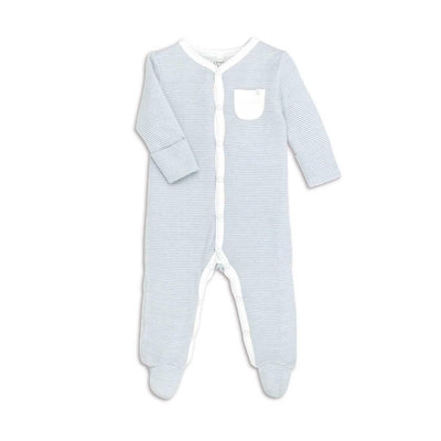 MORI Front Opening Sleepsuit - Blue-Sleepsuits- Natural Baby Shower