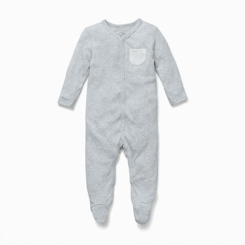 MORI Front Opening Sleepsuit - Grey-Sleepsuits- Natural Baby Shower