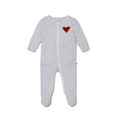 MORI Hearts Zip-Up Sleepsuit - Grey-Sleepsuits- Natural Baby Shower