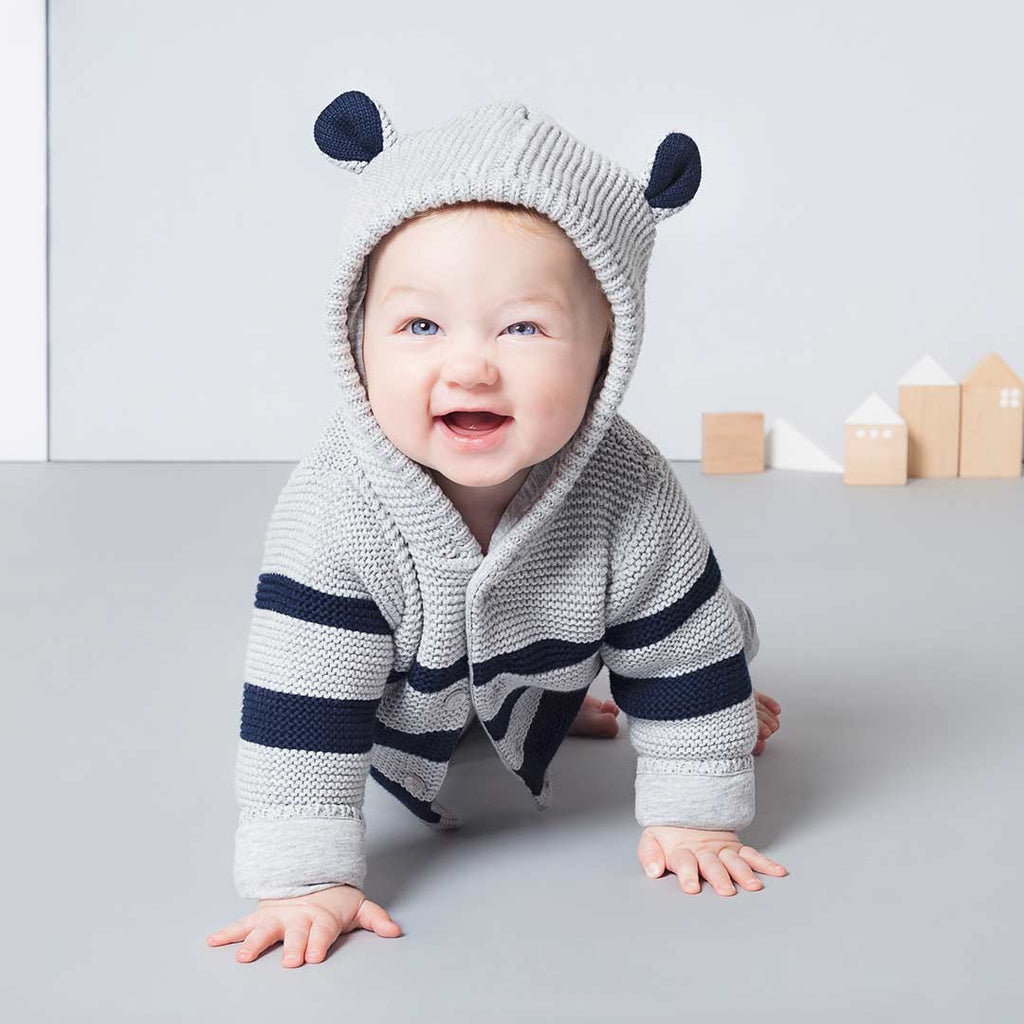 eea3cdcb4fd2 MORI Knitted Coat in Grey   Navy – Natural Baby Shower
