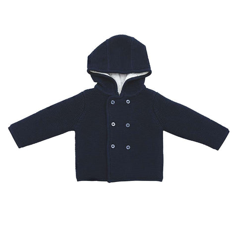MORI Knitted Coat - Party Navy-Coats & Snowsuits- Natural Baby Shower