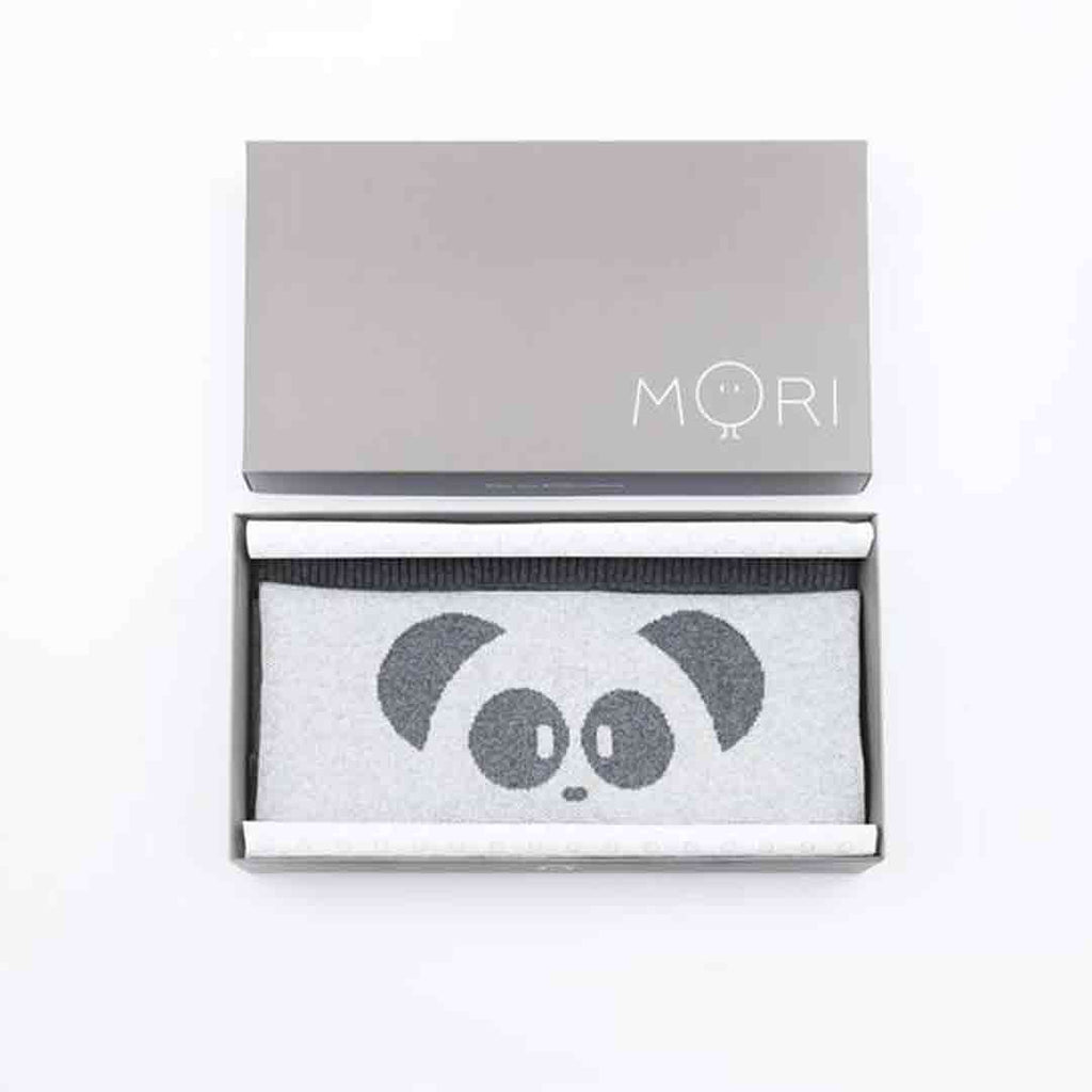 MORI Knitted Panda Blanket - Lamb Grey Box