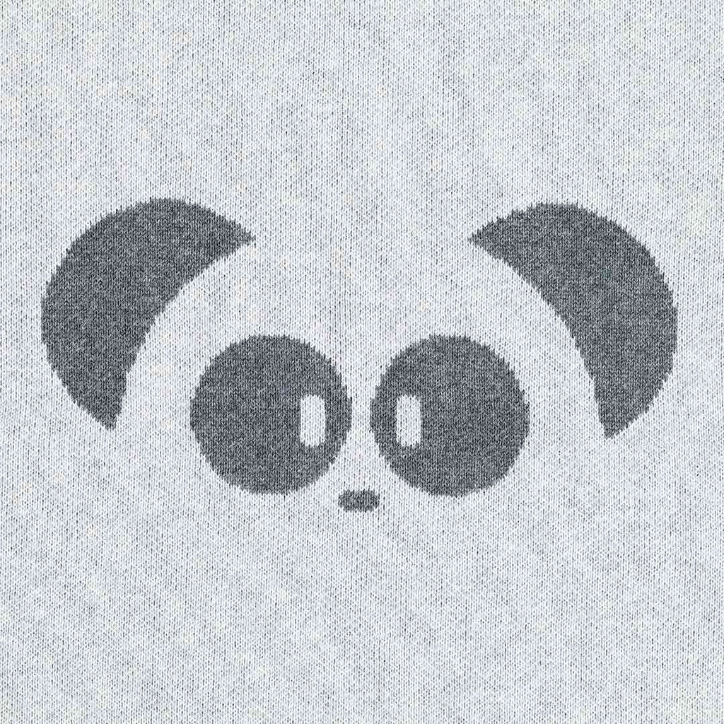 MORI Knitted Panda Blanket - Lamb Grey Detail