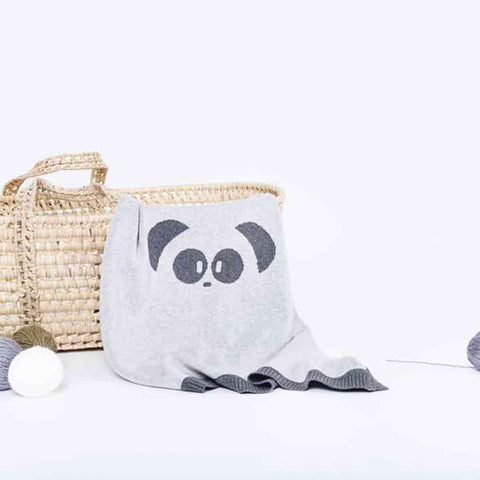 MORI Knitted Panda Blanket - Lamb Grey-Blankets- Natural Baby Shower