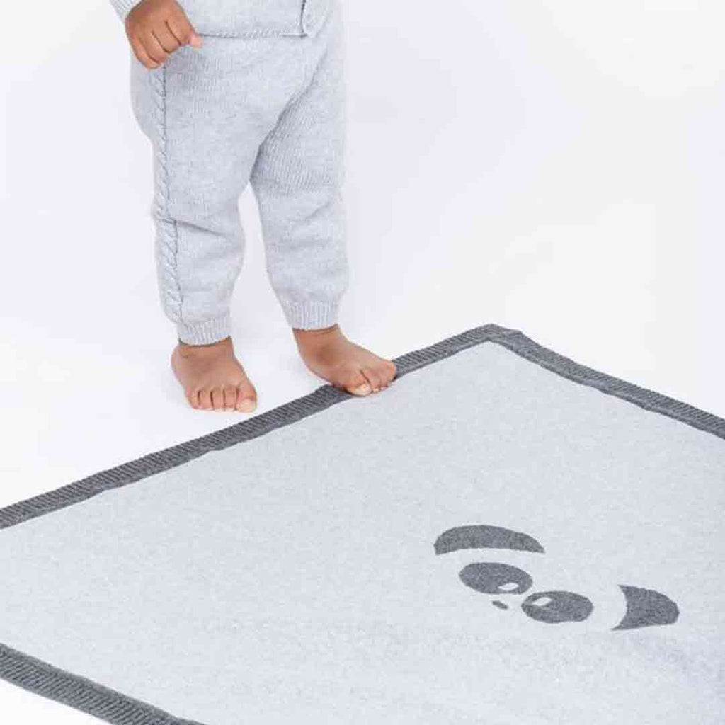 MORI Knitted Panda Blanket - Lamb Grey Lifestyle