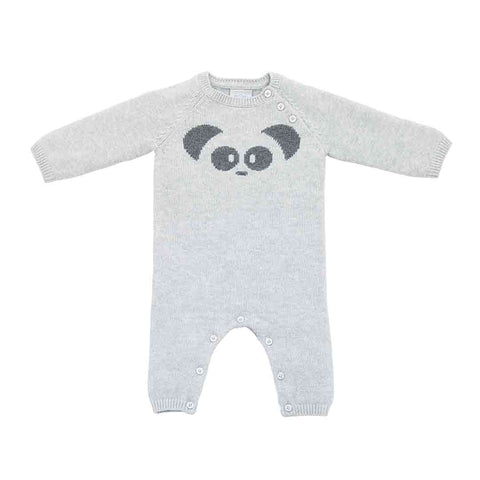 MORI Knitted Panda Romper - Lamb Grey-Rompers- Natural Baby Shower