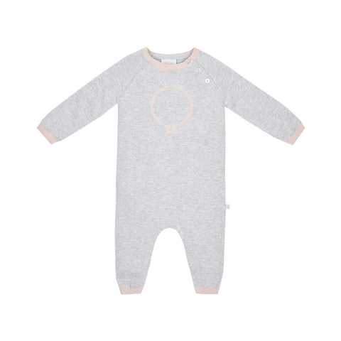 MORI Knitted Romper - Grey & Blush-Rompers- Natural Baby Shower