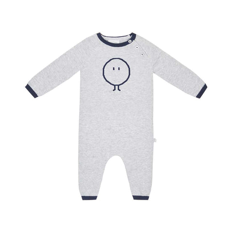MORI Knitted Romper - Grey & Navy-Rompers- Natural Baby Shower