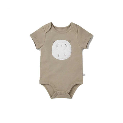 MORI Lamb Short Sleeve Bodysuit - Biscuit-Bodysuits- Natural Baby Shower