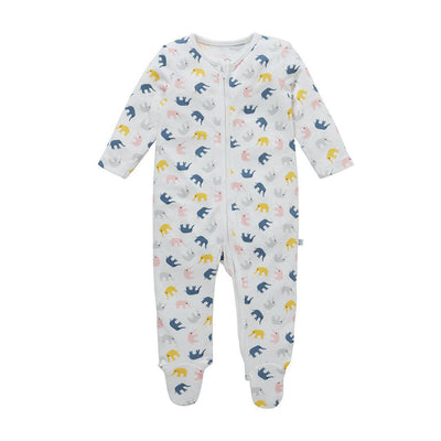 MORI Little Elephant Zip-Up Sleepsuit-Sleepsuits- Natural Baby Shower