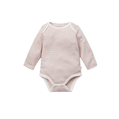 MORI Long Sleeve Bodysuit - Blush & Khaki-Bodysuits- Natural Baby Shower