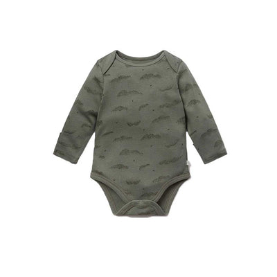 MORI Long Sleeve Bodysuit - Khaki Cloud-Bodysuits- Natural Baby Shower