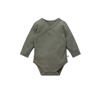 MORI Long Sleeve Kimono Bodysuit - Khaki-Bodysuits- Natural Baby Shower