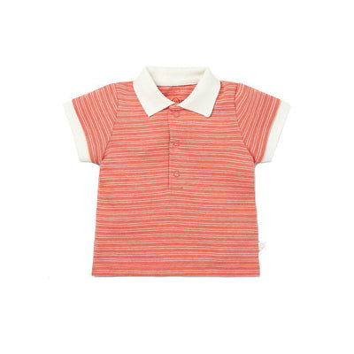 MORI Polo Shirt - Coral Stripe-Short Sleeves- Natural Baby Shower