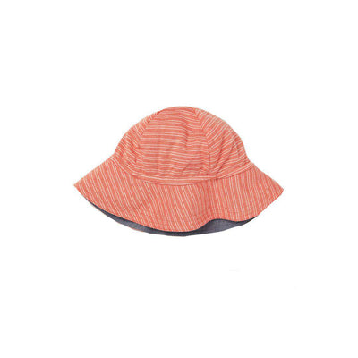 MORI Reversible Hat - Coral Stripe-Hats- Natural Baby Shower
