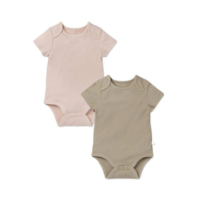 MORI Ribbed Short Sleeve Bodysuits - Blush & Taupe - 2 Pack-Bodysuits- Natural Baby Shower