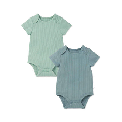 MORI Ribbed Short Sleeve Bodysuits - Sky & Mint - 2 Pack-Bodysuits- Natural Baby Shower