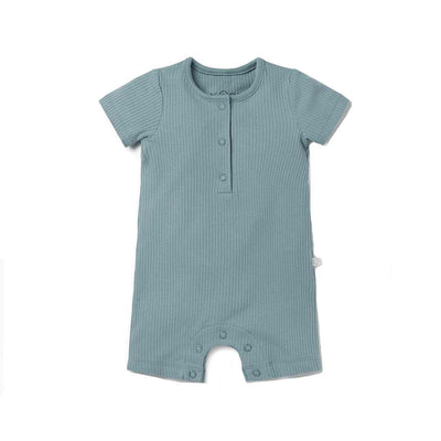 MORI Ribbed Summer Sleepsuit - Sky-Sleepsuits- Natural Baby Shower