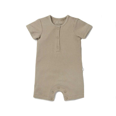 MORI Ribbed Summer Sleepsuit - Taupe-Sleepsuits- Natural Baby Shower