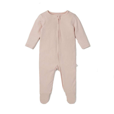 MORI Ribbed Zip-Up Sleepsuit - Blush-Sleepsuits-NB-Blush- Natural Baby Shower
