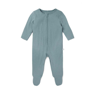 MORI Ribbed Zip-Up Sleepsuit - Sky-Sleepsuits-NB-Sky- Natural Baby Shower