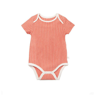 MORI Short Sleeve Bodysuit - Coral Stripe-Bodysuits- Natural Baby Shower