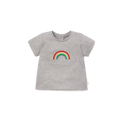 MORI Short Sleeve T-Shirt - Grey/Rainbow-Short Sleeves- Natural Baby Shower