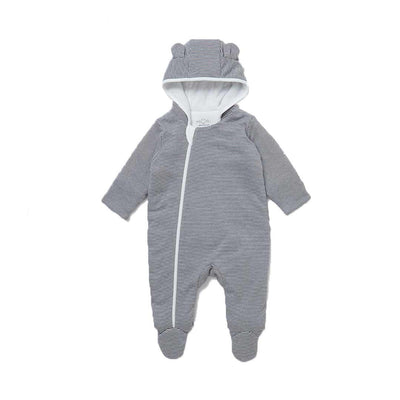 MORI Snugsuit - Lunar Stripe-Coats & Snowsuits- Natural Baby Shower