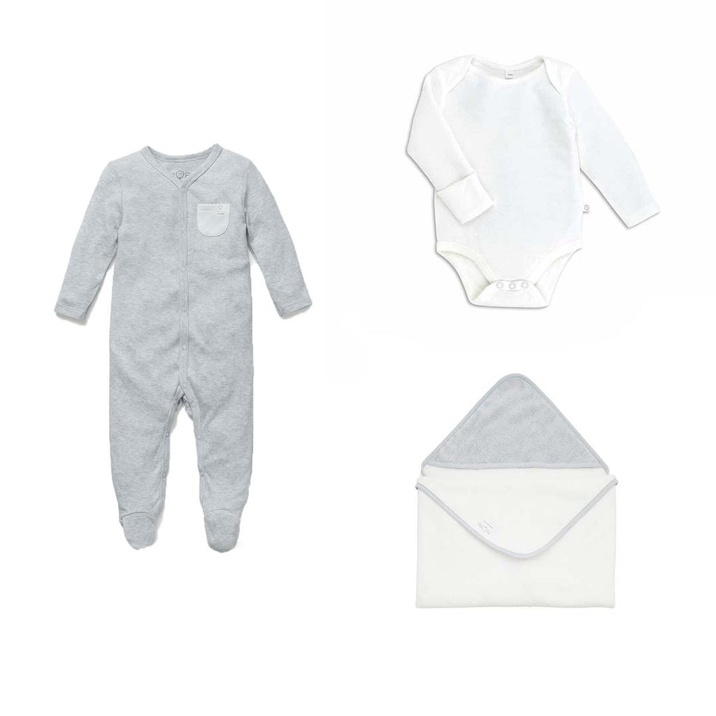 MORI Soak & Sleep Set - Grey-Clothing Sets- Natural Baby Shower