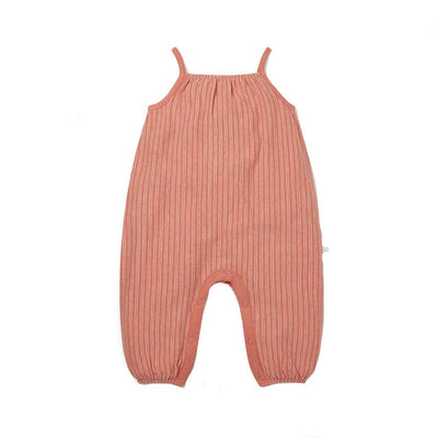 MORI Summer Jumpsuit - Coral Stripe-Rompers- Natural Baby Shower