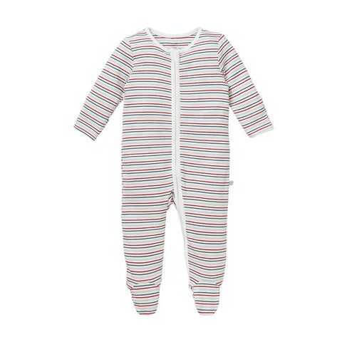 MORI Zip-Up Sleepsuit - Seasonal Stripe-Sleepsuits- Natural Baby Shower