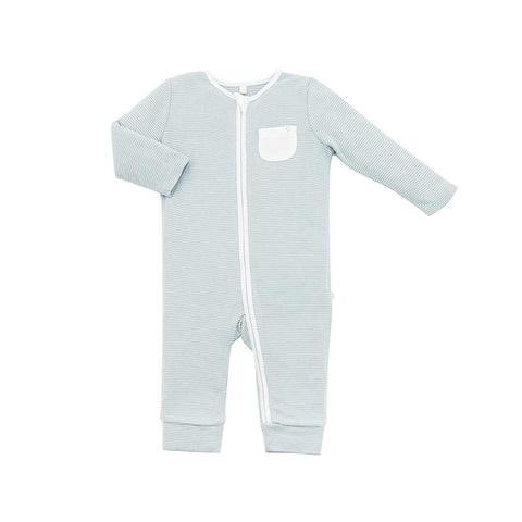 MORI Zip-Up Sleepsuit Without Feet - Blue-Sleepsuits- Natural Baby Shower