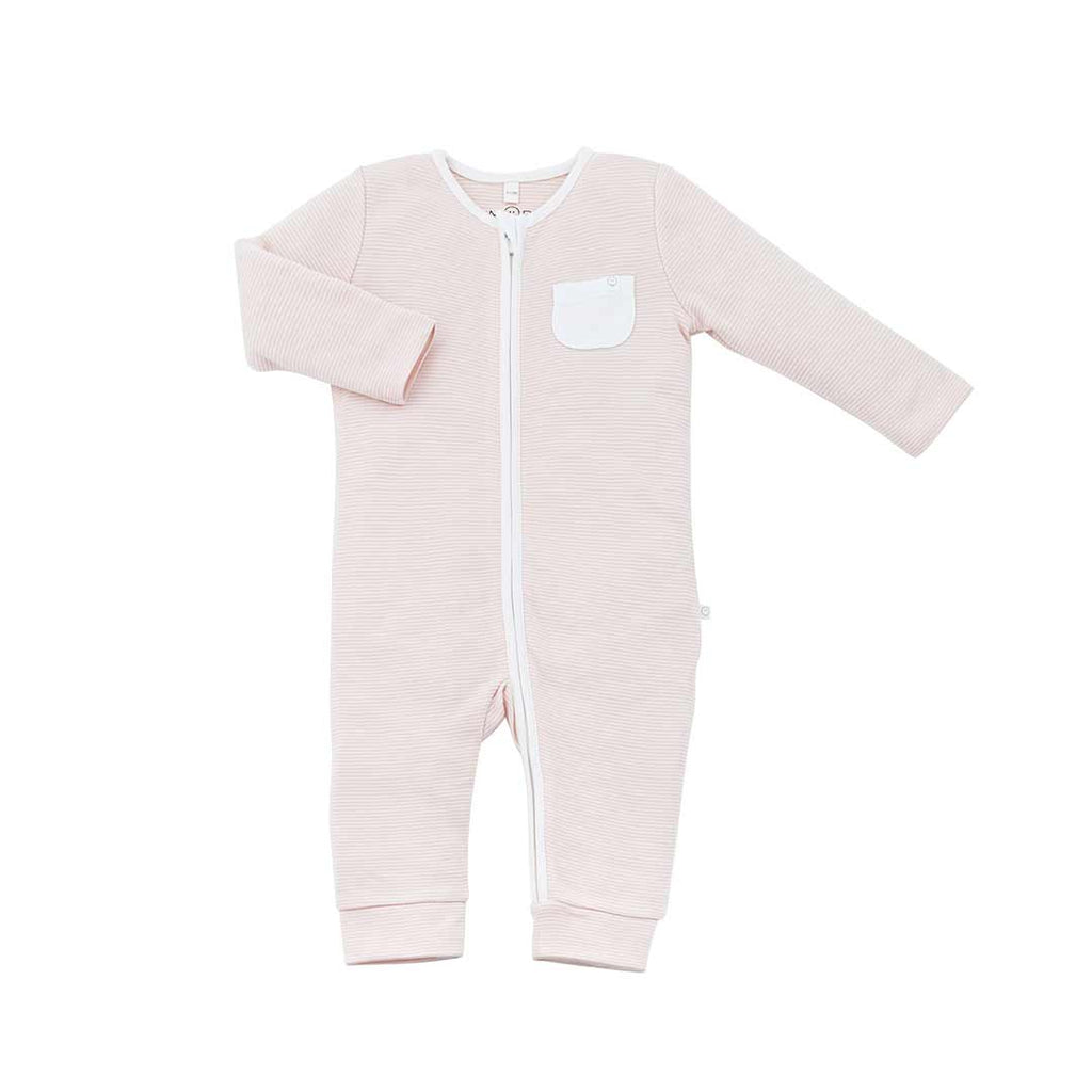 81761a2d9 MORI Zip-Up Sleepsuit Without Feet in Blush – Natural Baby Shower