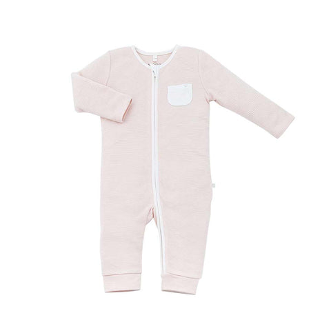 MORI Zip-Up Sleepsuit Without Feet - Blush-Sleepsuits- Natural Baby Shower