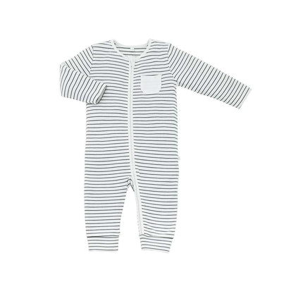 MORI Zip-Up Sleepsuit Without Feet - Grey Stripe-Sleepsuits- Natural Baby Shower
