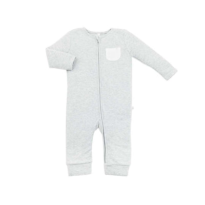 MORI Zip-Up Sleepsuit Without Feet - Grey-Sleepsuits- Natural Baby Shower