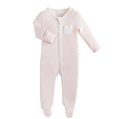MORI Zip-up Sleepsuit - Blush-Sleepsuits- Natural Baby Shower