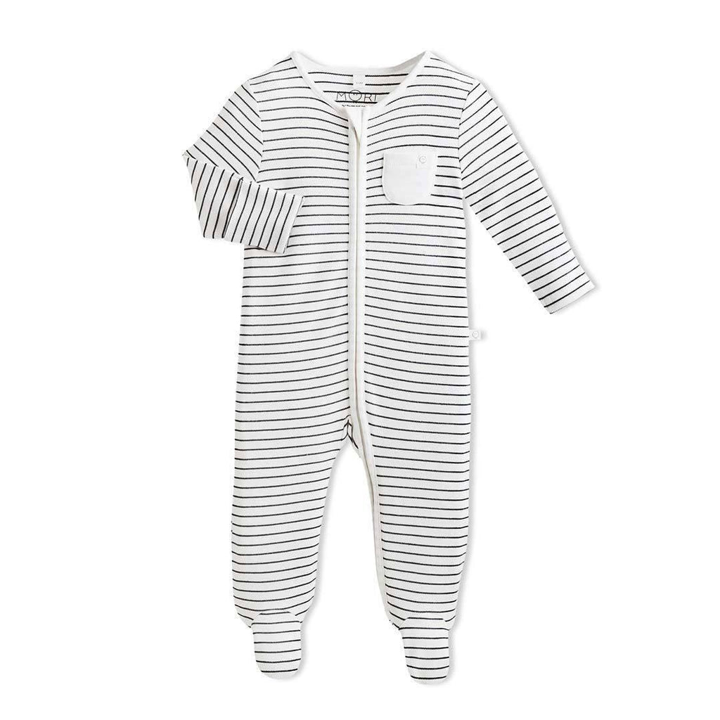 MORI Zip-up Sleepsuit - Grey Stripe-Sleepsuits- Natural Baby Shower